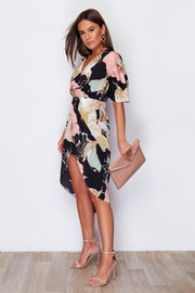 Linda Blush Floral Print 3/4 Sleeve Wrap Detailing Midi Dress