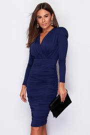 Bella Navy Long Sleeve Ruched Midi Dress