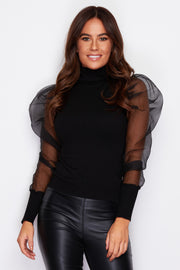 Michelle Black Puff Sleeves Polo Neck Jumper