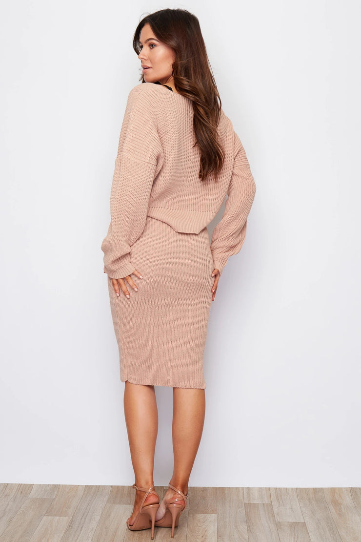 Milan Nude Knitted Two Piece Cardigan and Skirt Set