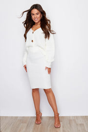 Milan Off White Knitted Two Piece Cardigan and Skirt Set