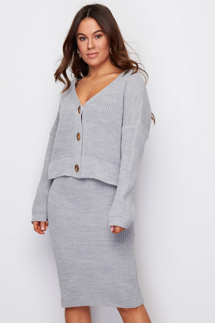 Milan Grey Knitted Two Piece Cardigan and Skirt Set