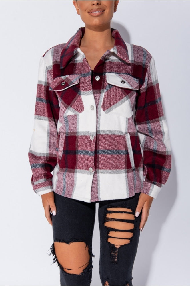 Poppie Wine Checked Pocket Shacket