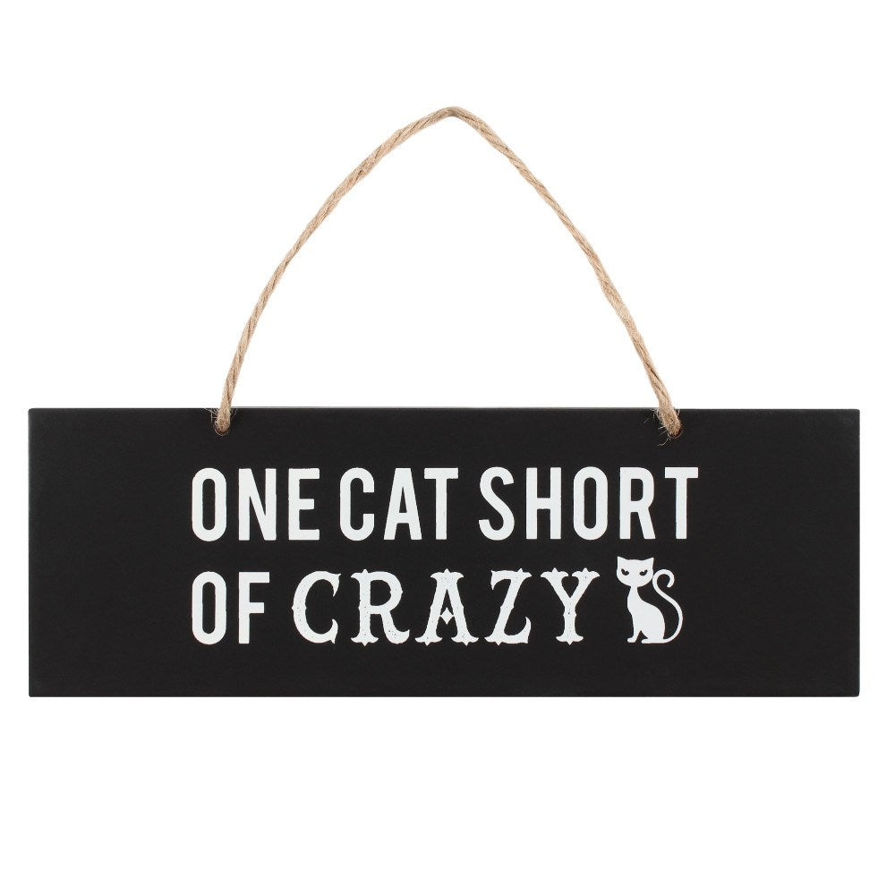 "Houten tekstbordje ""One Cat Short of Crazy"""