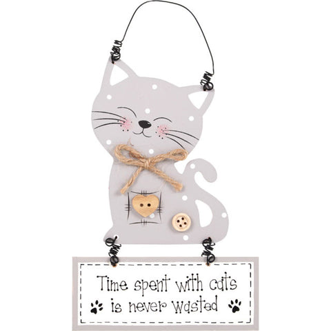"Houten tekstbord met quote over katten ""Time spent with cats is never wasted"", een leuk cadeau voor kattenliefhebbers."
