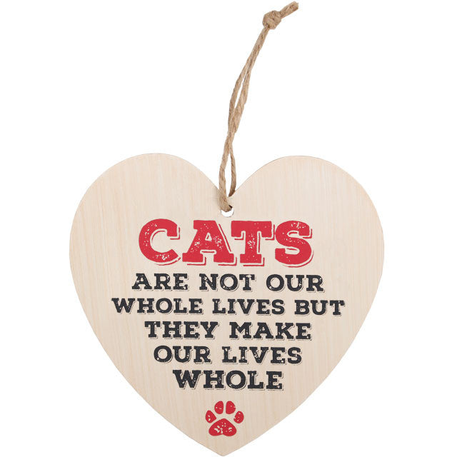 "Houten hart ""Cats are not our whole lives but they make our lives whole""."