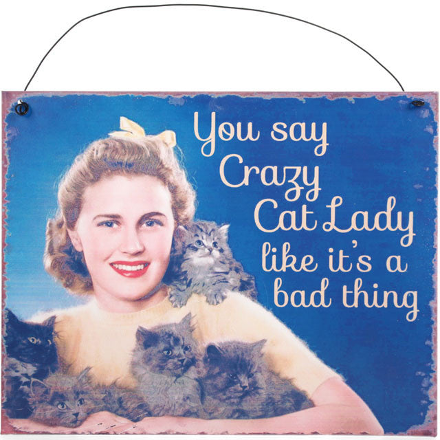 "Metalen tekstbord ""Crazy Cat Lady"""