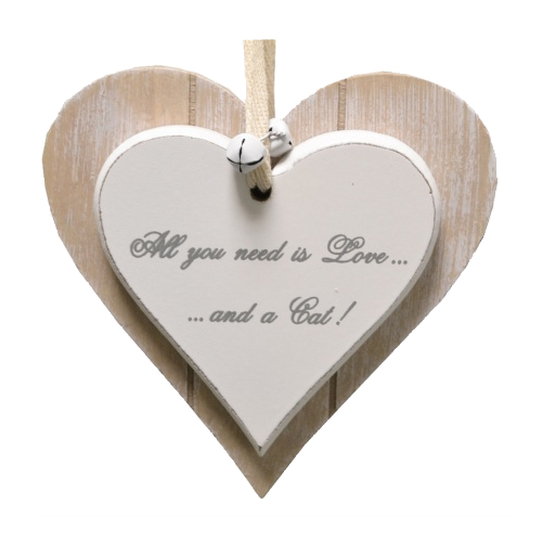 "Houten hartje ""All you need is love and a cat""."