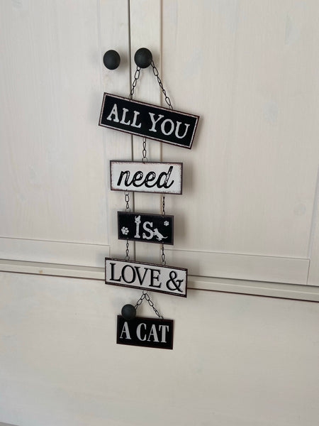 "Metalen bord ""Love and a Cat"""