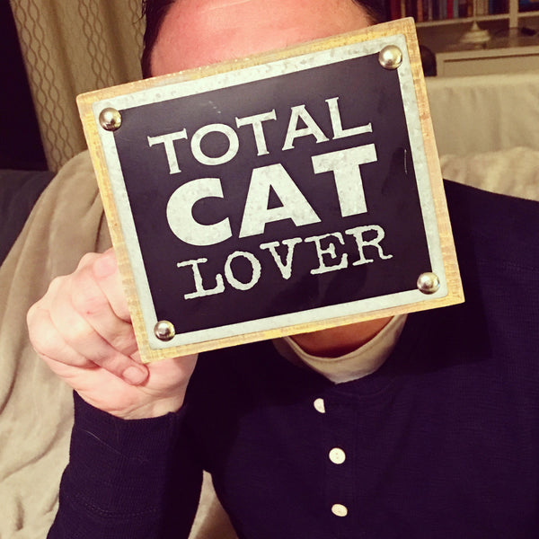 "Houten blok ""Total Cat Lover"""