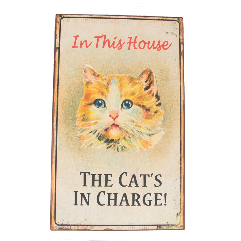 "Metalen tekstbord ""The cat's in charge"""