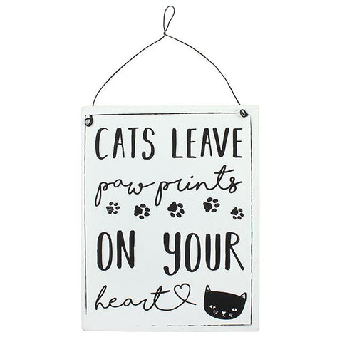 "Metalen tekstbord ""Cats leave paw prints on your heart"""