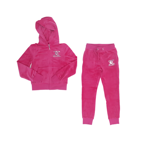 Juicy Couture Luxe Velour Diamante Logo Tracksuit Junior GirlsAlive & Dirty