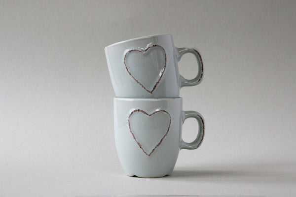 Two double espresso mugs. chalky blue