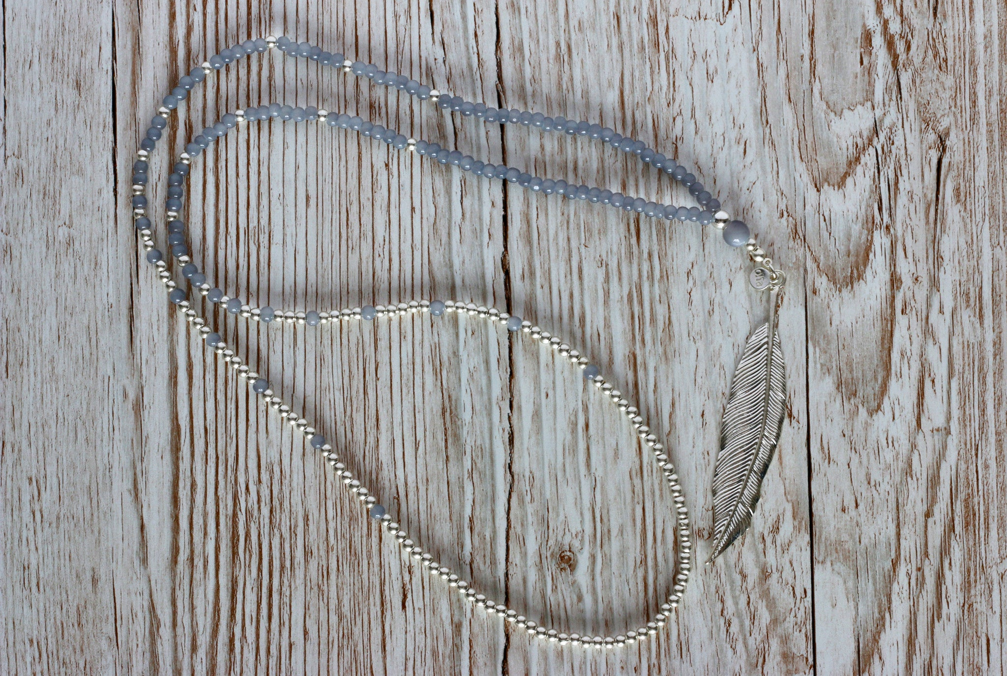 Necklace - Jenni Feather Necklace - Grey
