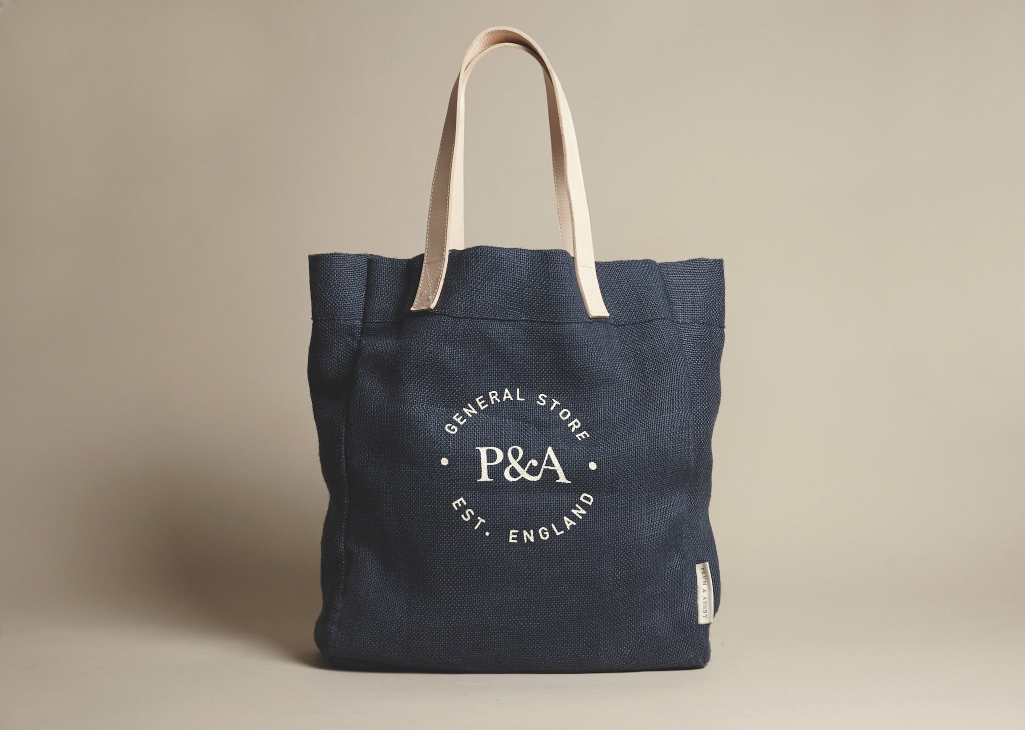 Plum and Ashby jute tote bag navy