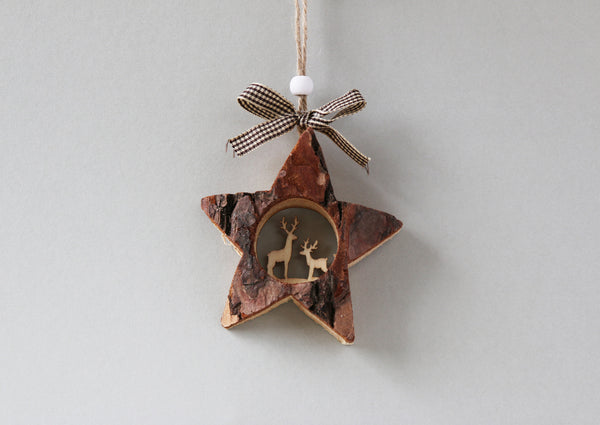 Bark star christmas tree decoration