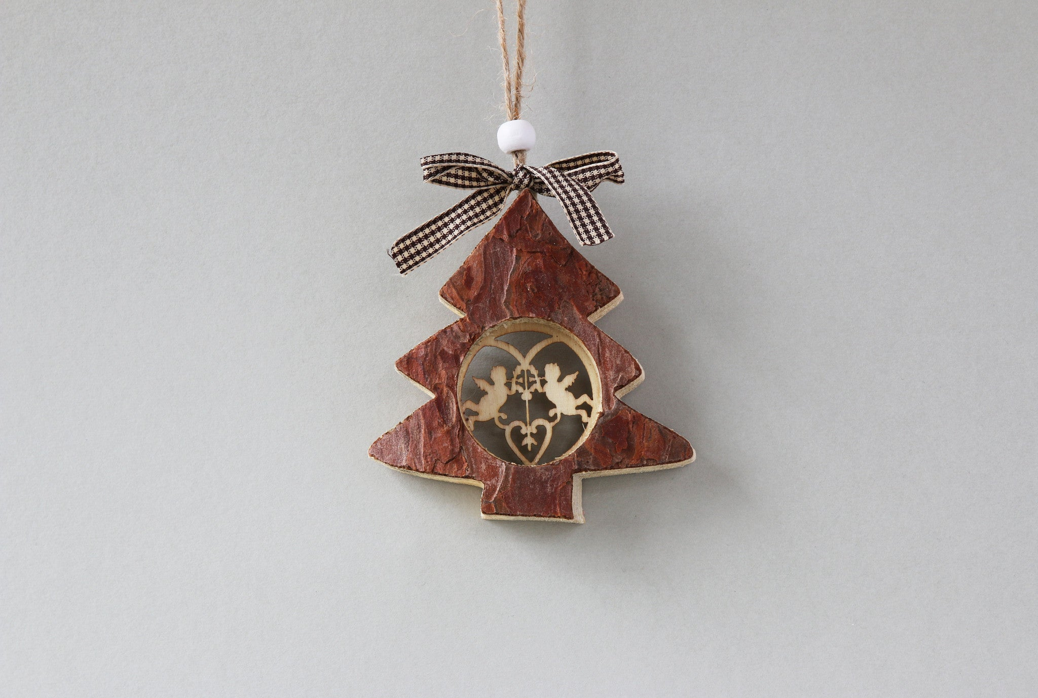 Carved bark tree christmas decoration