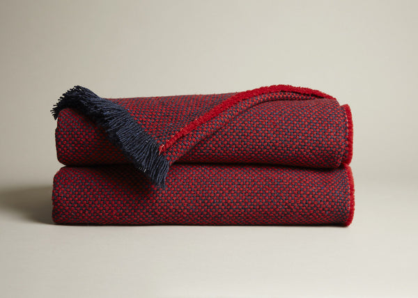 Plum and Ashby red throw with fringed edges