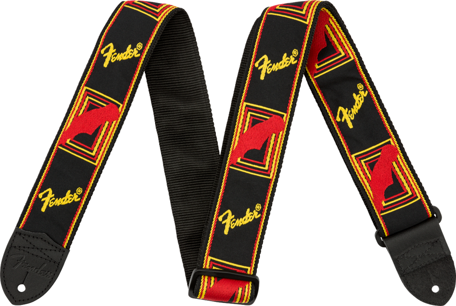 Fender Monogram Logo Strap Red/Yellow/Black - Regent Sounds
