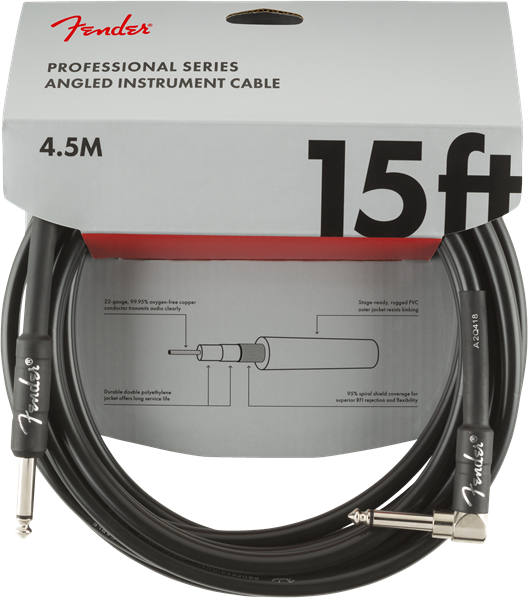 Fender Professional Series 15' Cable Angle Black - Regent Sounds