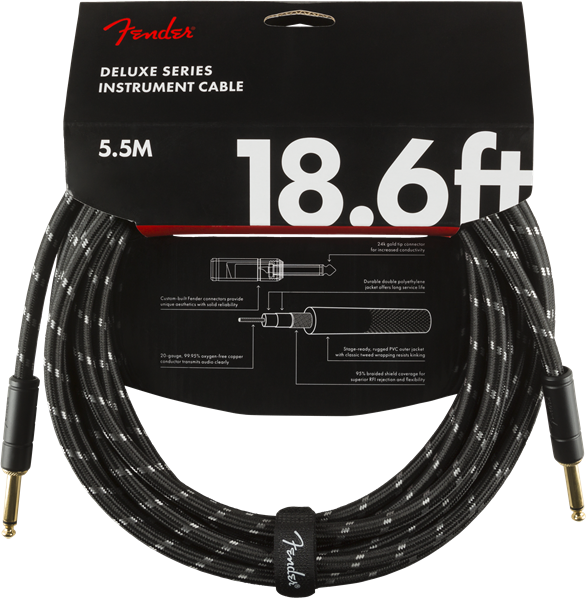 Fender Deluxe Series 18.6' Cable Black Tweed - Regent Sounds