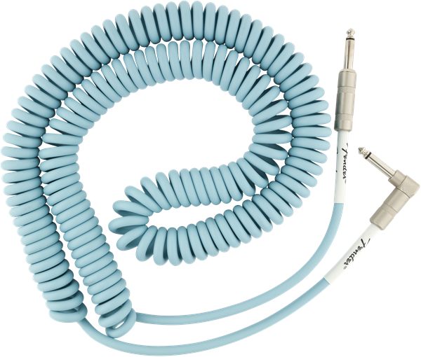 Fender Original Series Coil Cable Angle 30' Daphne Blue - Regent Sounds