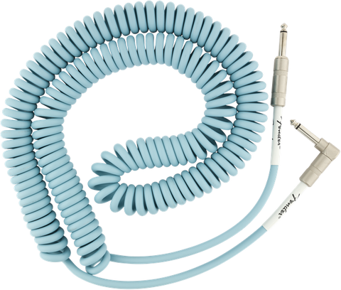 Fender Original Series Coil Cable Angle 30' Daphne Blue