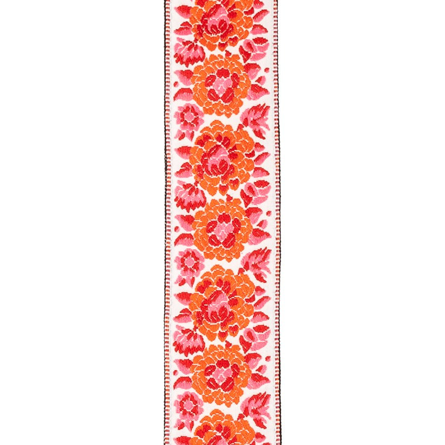 D'addario Peace & Love Woven Guitar Strap Pink & White - Regent Sounds
