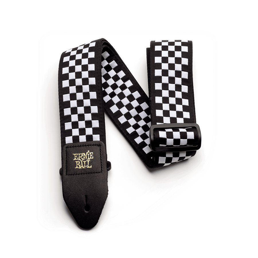 Ernie Ball Black and White Chequered Jacquard Strap - Regent Sounds
