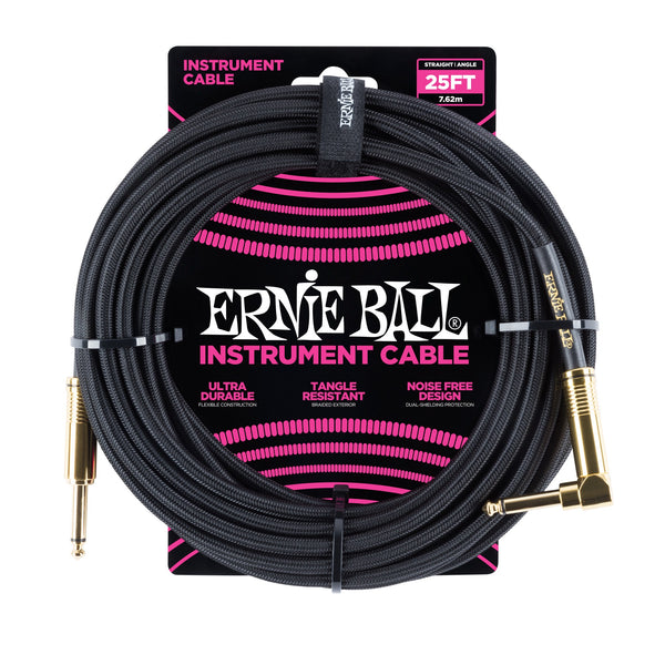 Ernie Ball 25ft Straight/Angle Braided Black - Regent Sounds