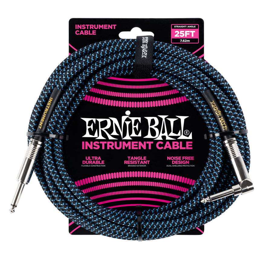 Ernie Ball 25ft Straight/Angle Braided Blue - Regent Sounds