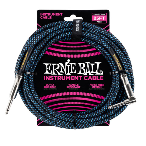 Ernie Ball 25ft Straight/Angle Braided Blue