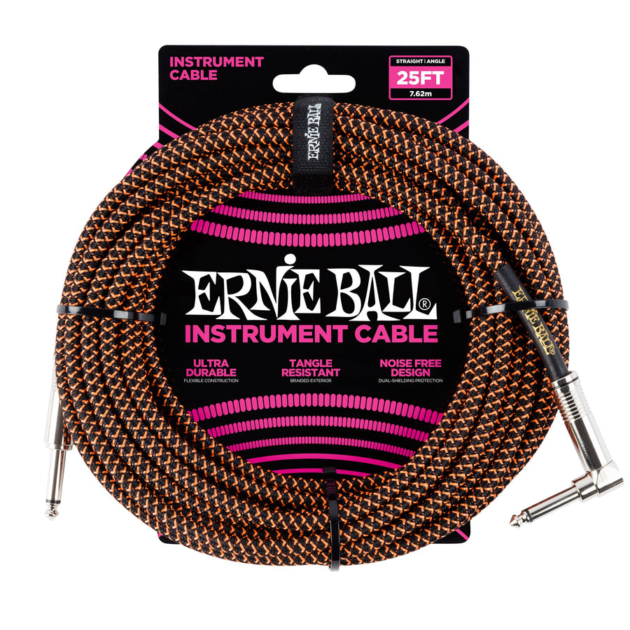 Ernie Ball 25ft Straight/Angle Braided Black/Orange - Regent Sounds