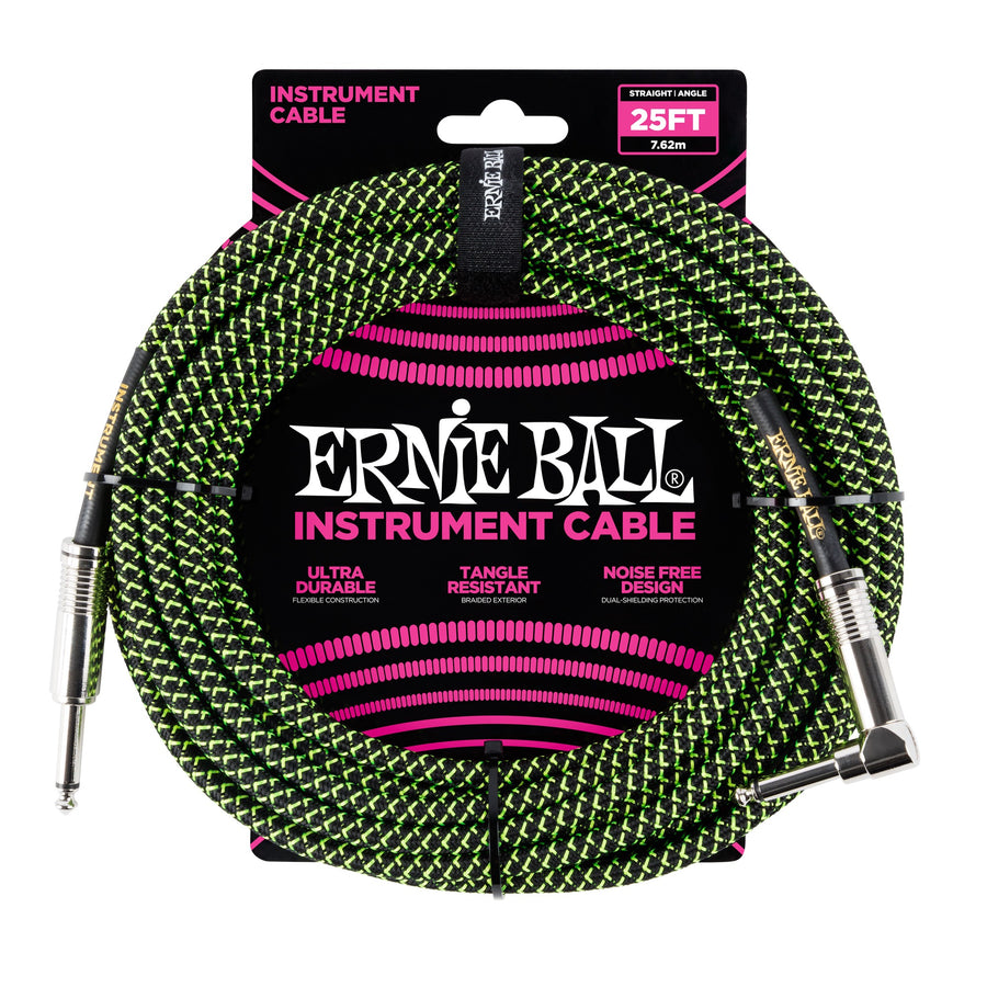 Ernie Ball 25ft Straight/Angle Braided Black-Green - Regent Sounds