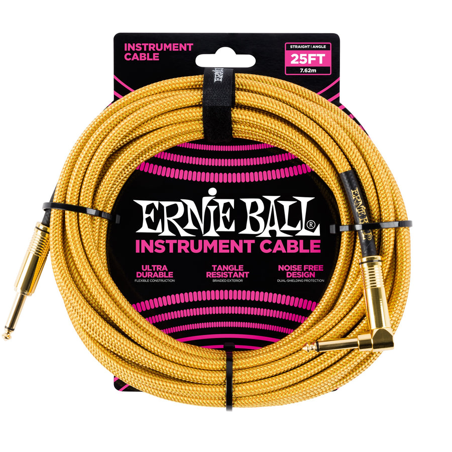 Ernie Ball 25ft Straight/Angle Braided Gold - Regent Sounds