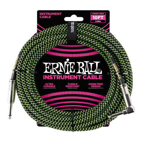 Ernie Ball 10ft Straight/Angle Braided Black/Green - Regent Sounds