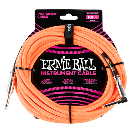 Ernie Ball 10ft Straight/Angle Braided Orange - Regent Sounds