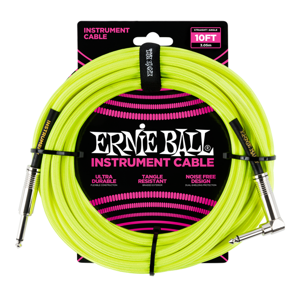 Ernie Ball 10ft Straight/Angle Braided Yellow - Regent Sounds