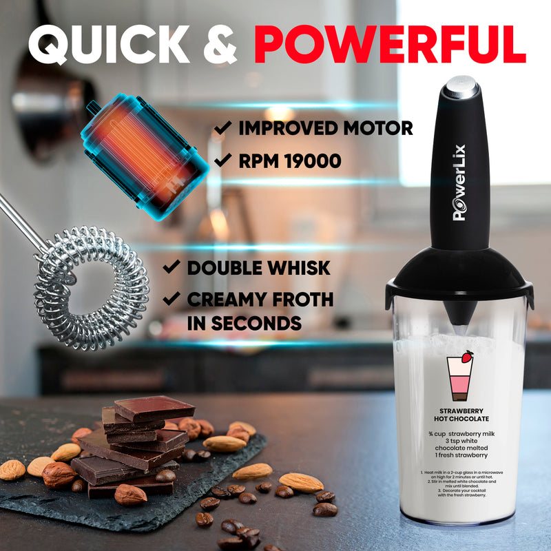 PowerLix™ Milk Frother - New Double whisk + Foamer Cup