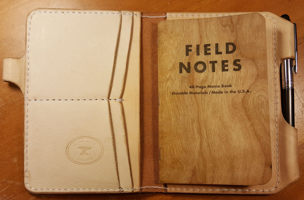 Handmade leather field notes case