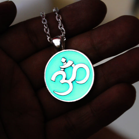 Yoga Posture Necklace AUM OM Charm Pendant With Glow In The Dark
