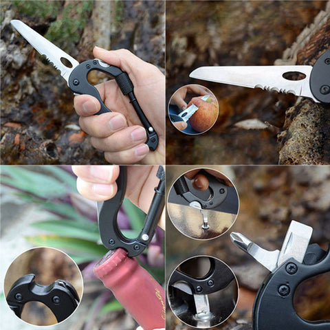 5 in 1 Multi-purpose Pocket Tool with Aluminum Climbing Carabiner Hook Outdoor Traveling Camping