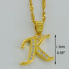 Cubic Zirconia Small Letters Necklace Gold Color Pendant Chain for Women