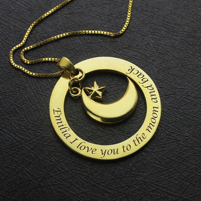 I Love You To The Moon And Back Gold Color Necklace