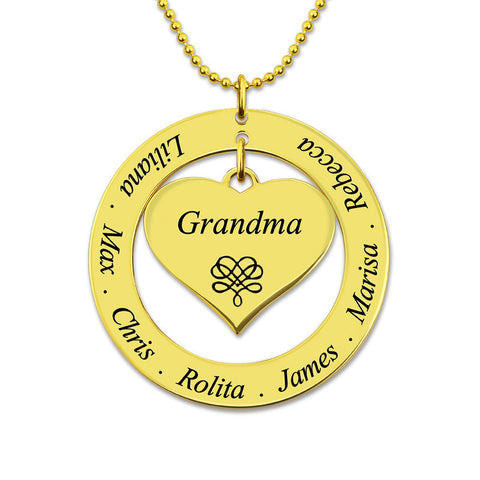 Customized Grandma Heart Pendant Circle Necklace Gold Color Family Name