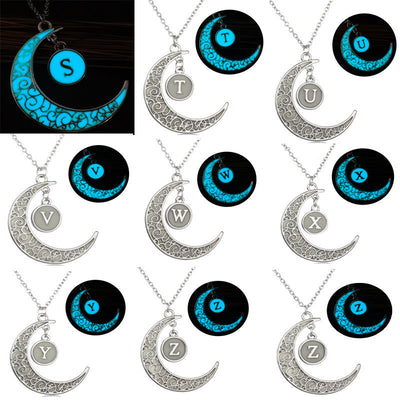 Glowing In The Dark Necklace 26 Letter Moon Pendant Necklace