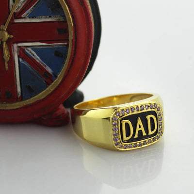Men's Birthstone Accent Dad Ring Gold Color