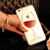 Liquid Quicksand Red Wine clearTransparent Phone Case hard back CoverFor iPhones 5 5S 6 6S 6Plus Free + Shipping