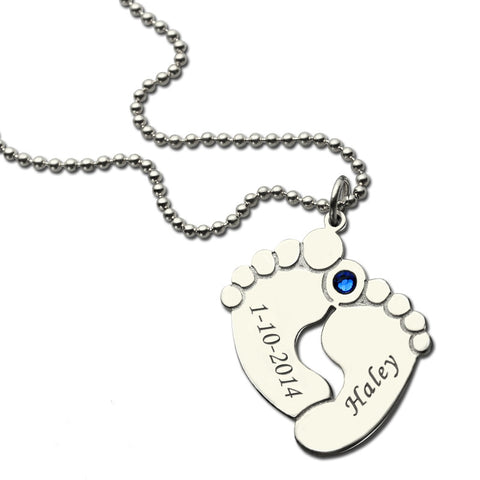 Personalized Baby Feet Birthstone Mother Necklace